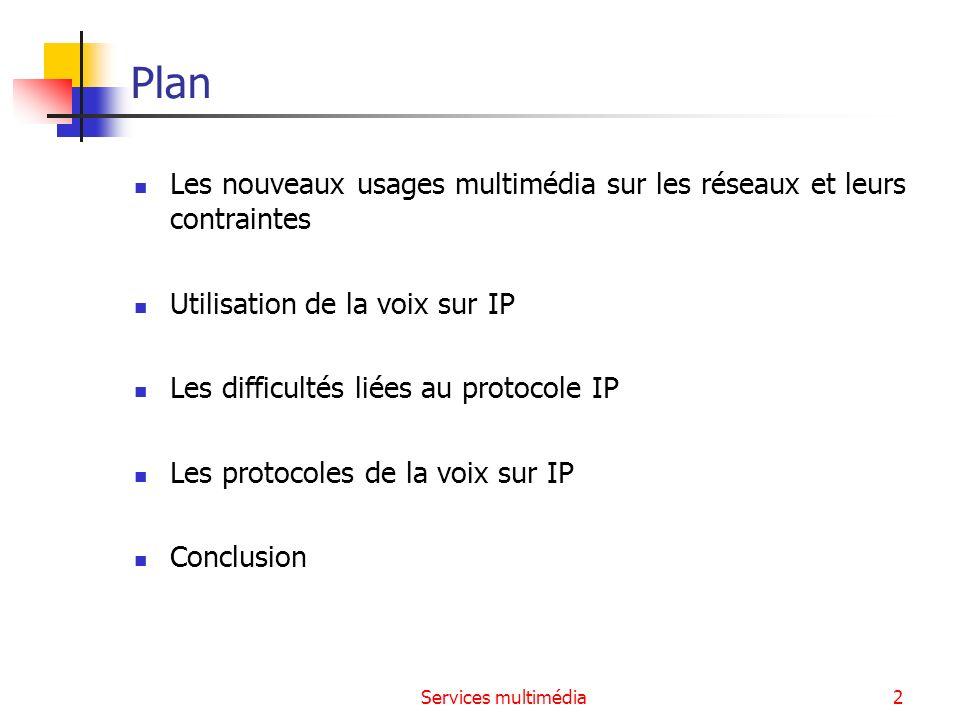 Plan Les nouveaux usages multimédia sur les réseaux et leurs contraintes. Utilisation de la voix sur IP.