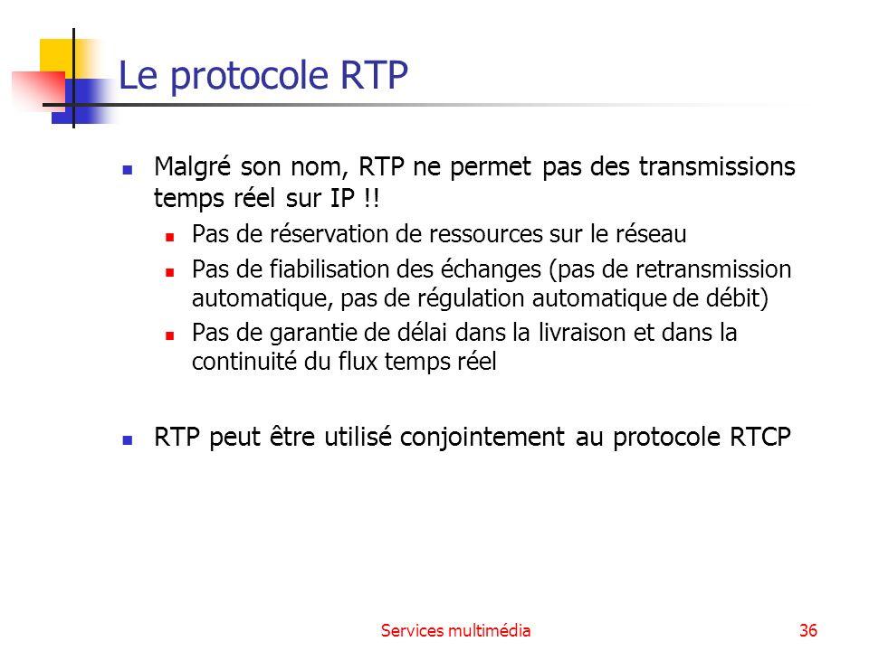 Le protocole RTP Malgré son nom, RTP ne permet pas des transmissions temps réel sur IP !! Pas de réservation de ressources sur le réseau.