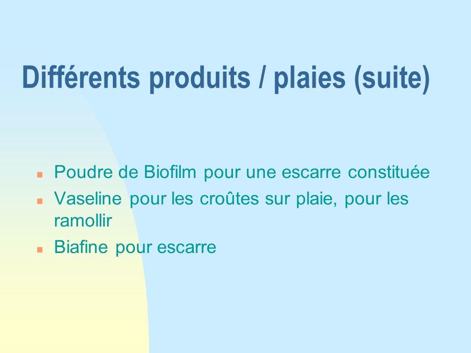Différents produits / plaies (suite)