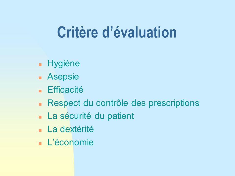 Critère d'évaluation Hygiène Asepsie Efficacité