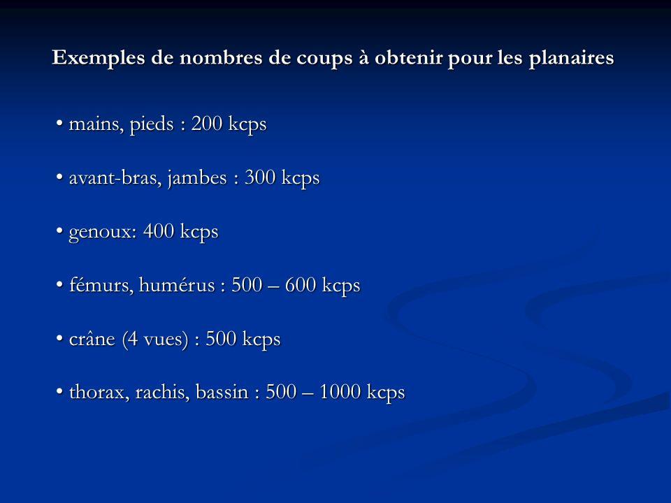 Exemples de nombres de coups à obtenir pour les planaires