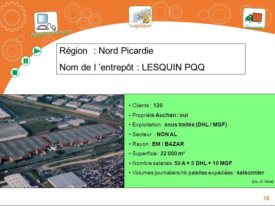 Nom de l 'entrepôt : LESQUIN PQQ