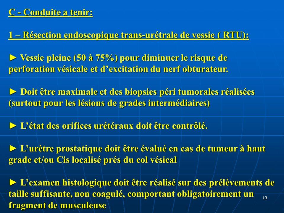 C - Conduite a tenir: 1 – Résection endoscopique trans-urétrale de vessie ( RTU):