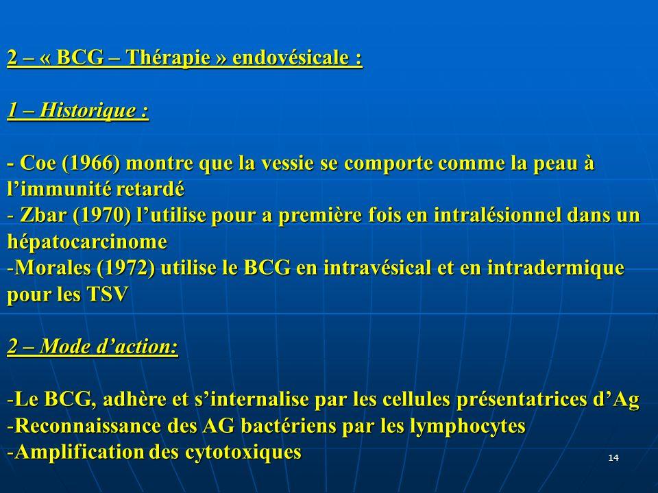 2 – « BCG – Thérapie » endovésicale :