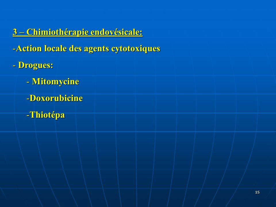 3 – Chimiothérapie endovésicale: