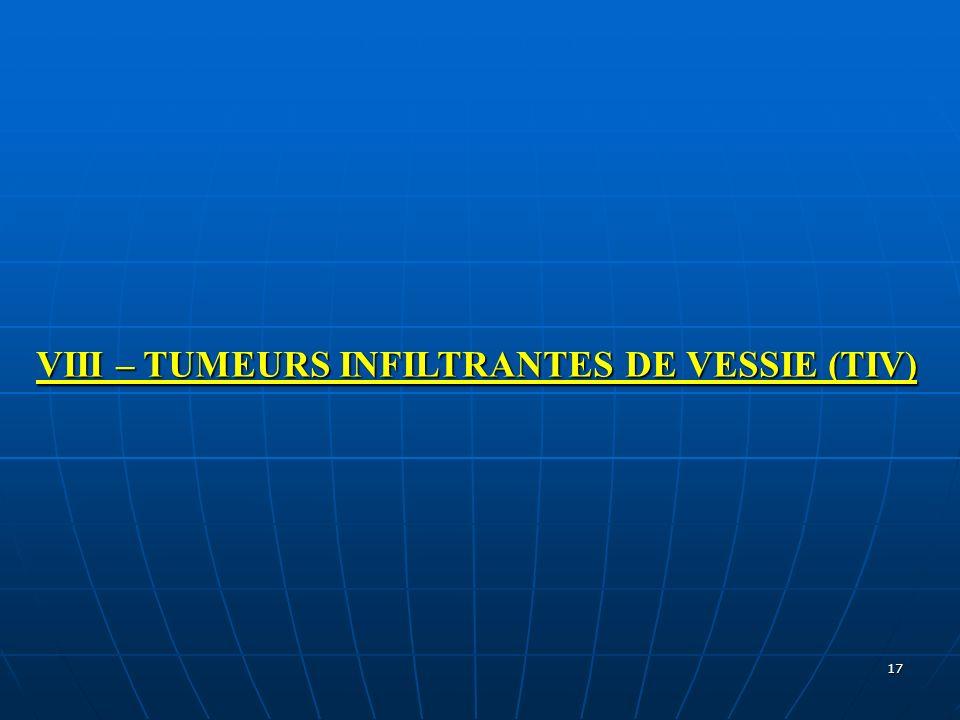 VIII – TUMEURS INFILTRANTES DE VESSIE (TIV)