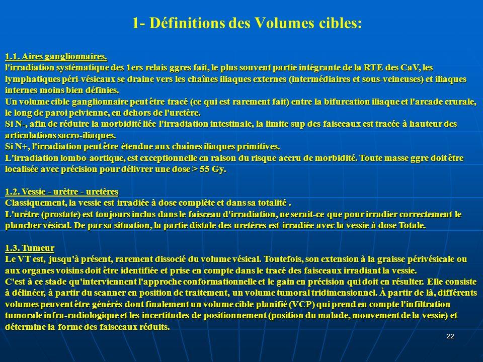 1- Définitions des Volumes cibles: