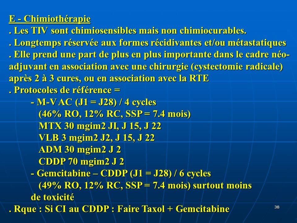 E - Chimiothérapie . Les TIV sont chimiosensibles mais non chimiocurables. . Longtemps réservée aux formes récidivantes et/ou métastatiques.