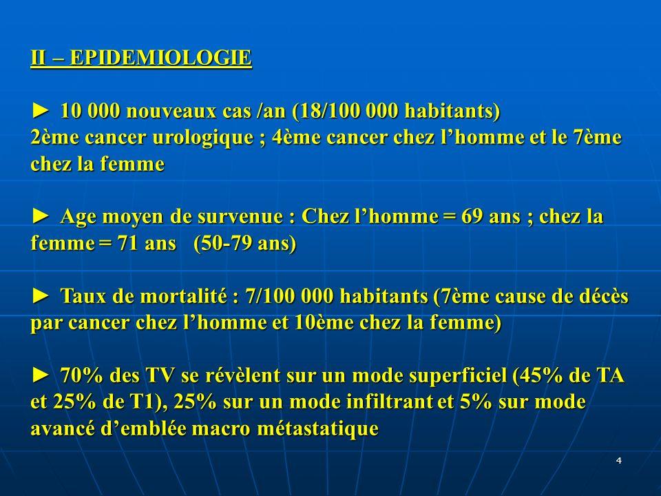 II – EPIDEMIOLOGIE ► 10 000 nouveaux cas /an (18/100 000 habitants) 2ème cancer urologique ; 4ème cancer chez l'homme et le 7ème chez la femme.