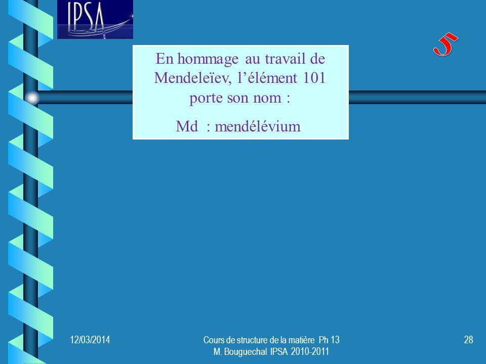 5 En hommage au travail de Mendeleïev, l'élément 101 porte son nom :