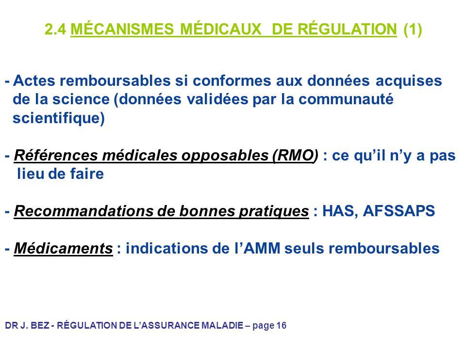 2.4 MÉCANISMES MÉDICAUX DE RÉGULATION (1)