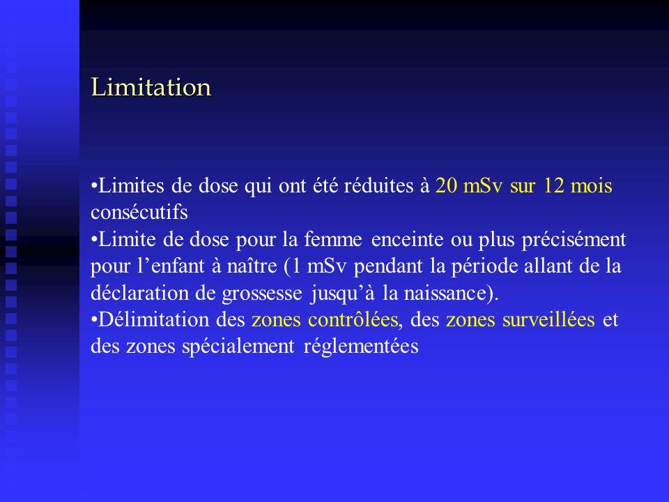 Limitation Limites de dose qui ont été réduites à 20 mSv sur 12 mois consécutifs.