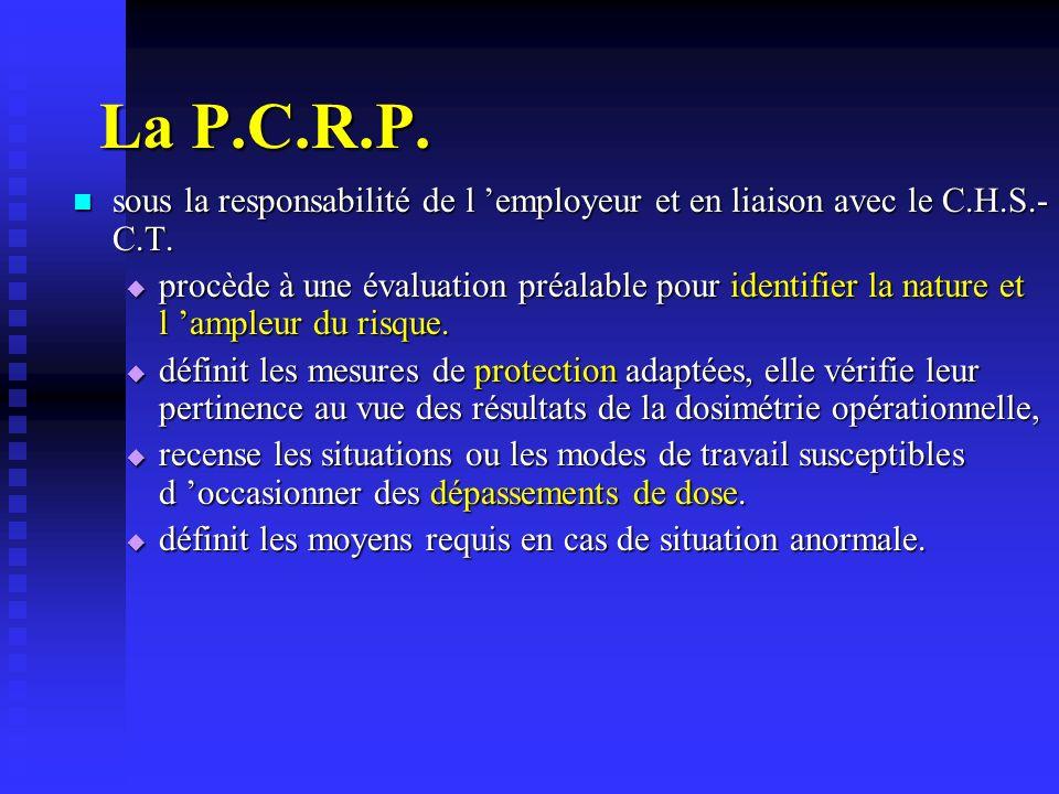 La P.C.R.P. sous la responsabilité de l 'employeur et en liaison avec le C.H.S.-C.T.