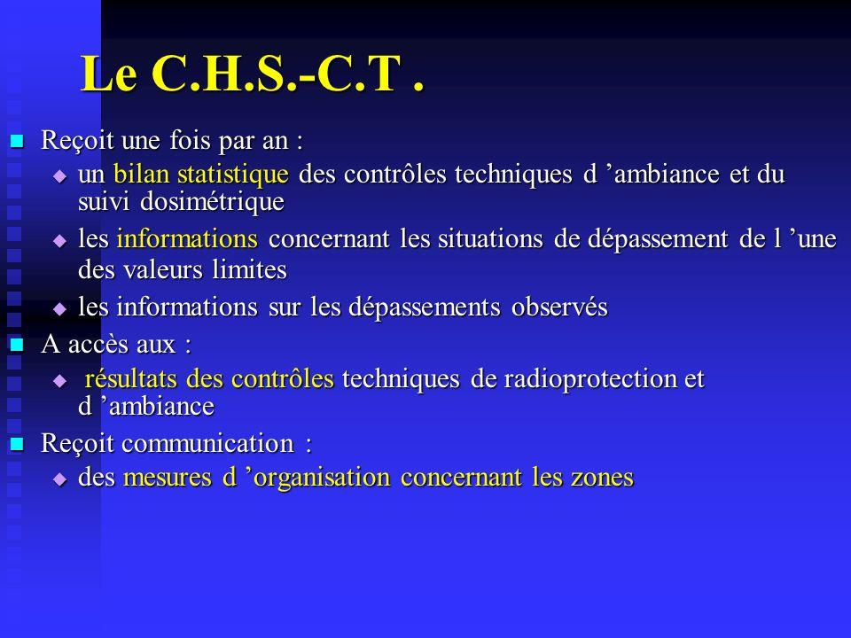 Le C.H.S.-C.T . Reçoit une fois par an :