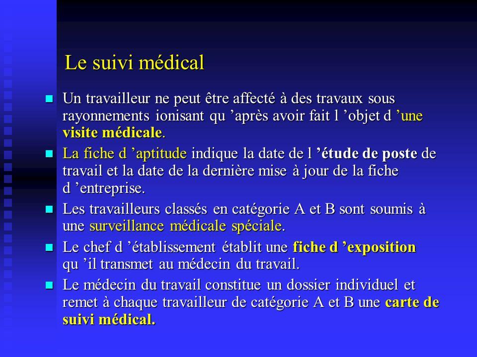 Le suivi médical Un travailleur ne peut être affecté à des travaux sous rayonnements ionisant qu 'après avoir fait l 'objet d 'une visite médicale.