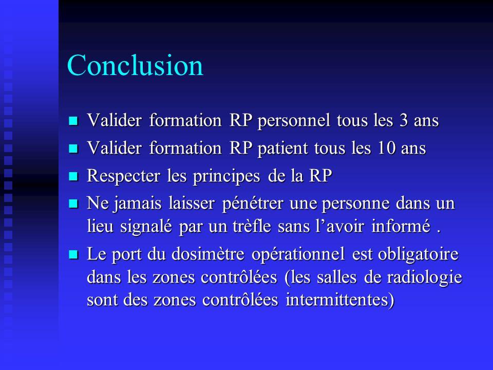 Conclusion Valider formation RP personnel tous les 3 ans