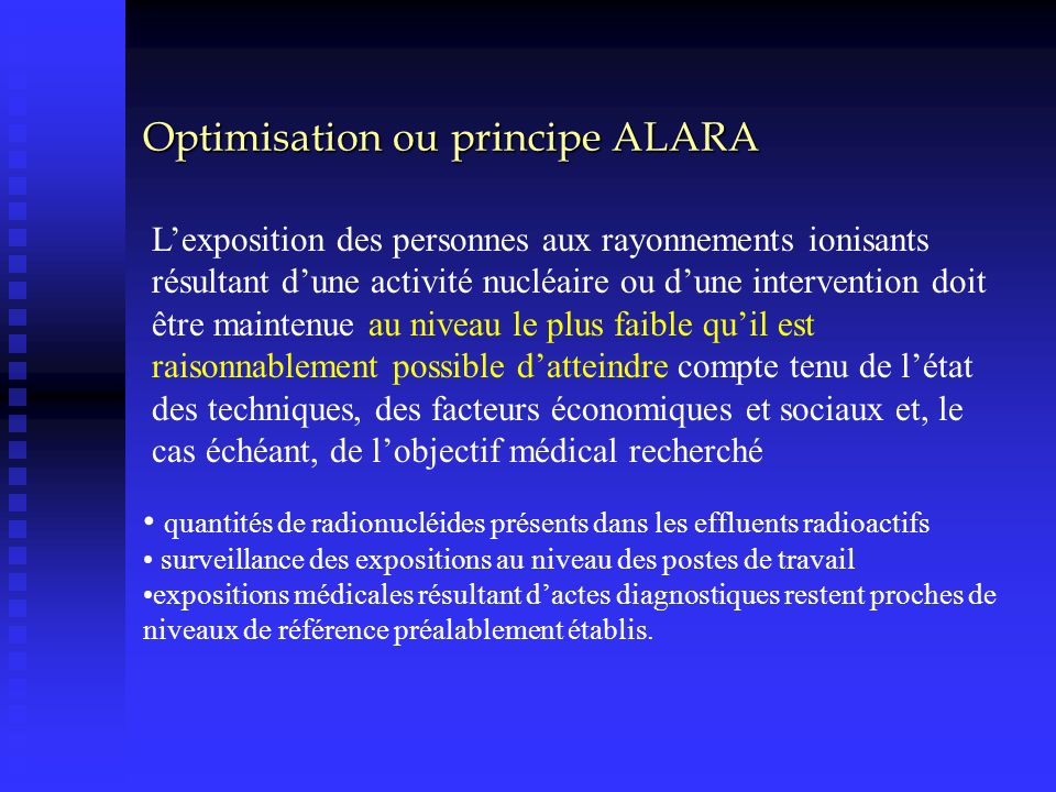Optimisation ou principe ALARA