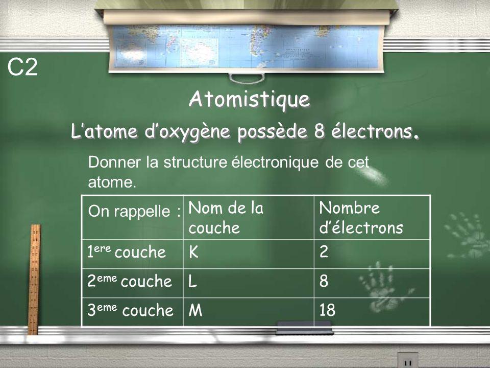 C2 Atomistique L'atome d'oxygène possède 8 électrons.