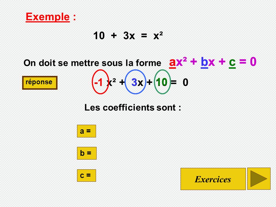 ax² + bx + c = 0 ax² + bx + c = 0 Exemple : 10 + 3x = x² -1