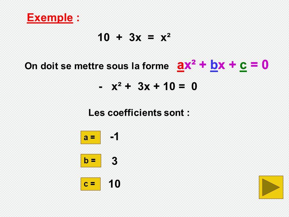ax² + bx + c = 0 ax² + bx + c = 0 Exemple : 10 + 3x = x²
