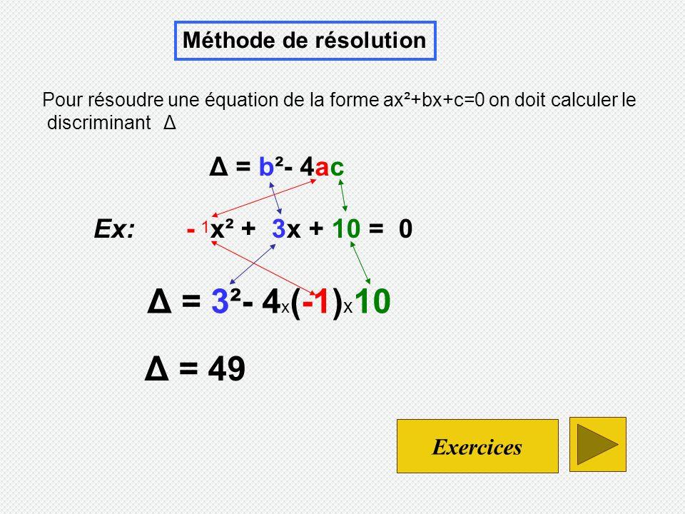 Δ = 3²- 4x(-1)x10 Δ = 49 Δ = b²- 4ac Ex: - x² + 3x + 10 = 0
