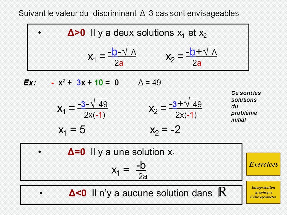 x1 = -b-√ Δ x2 = -b+√ Δ x1 = -3-√ 49 x2 = -3+√ 49 x1 = 5 x2 = -2 x1 =