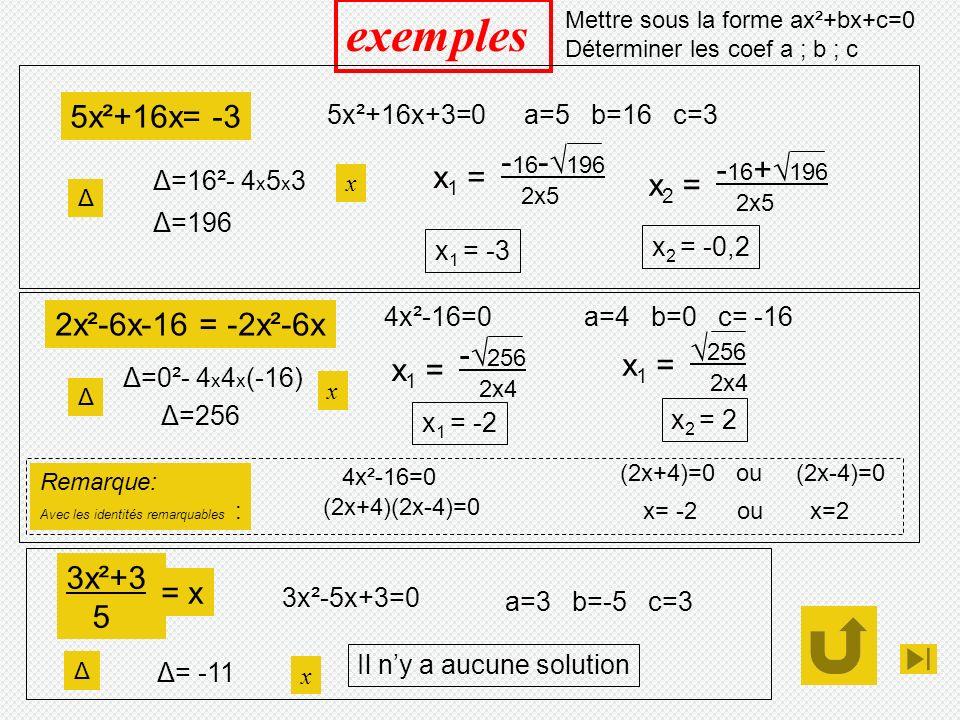 exemples 5x²+16x= -3 -16-√196 -16+√196 x1 = x2 = 2x²-6x-16 = -2x²-6x