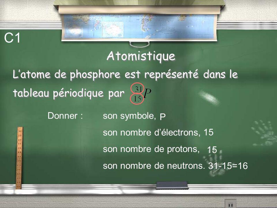 C1 Atomistique. L'atome de phosphore est représenté dans le tableau périodique par. Donner : son symbole,