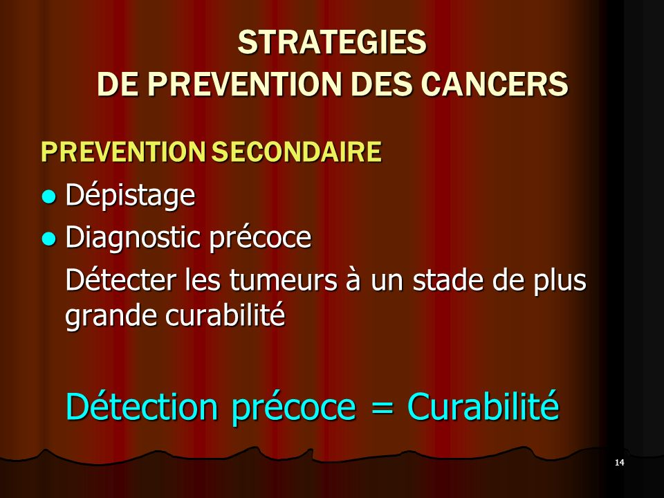 STRATEGIES DE PREVENTION DES CANCERS