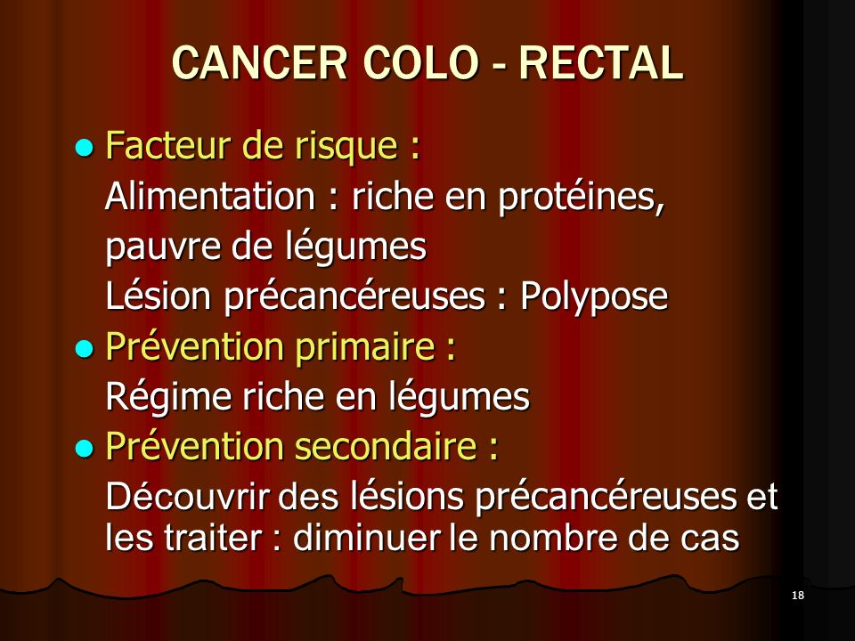 CANCER COLO - RECTAL Facteur de risque :