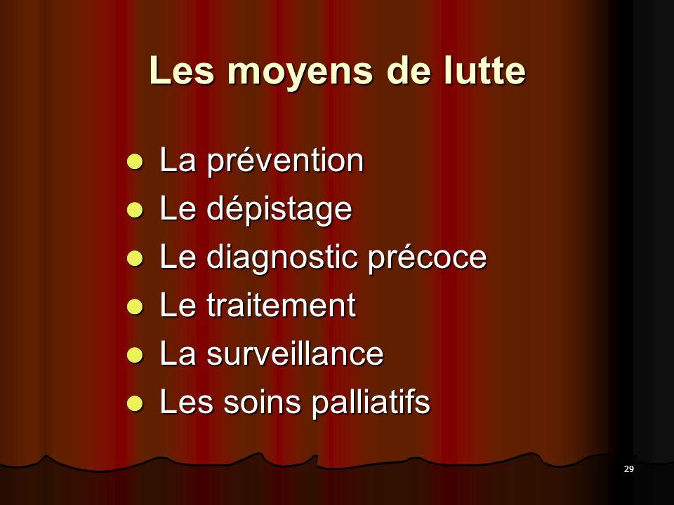 Les moyens de lutte La prévention Le dépistage Le diagnostic précoce