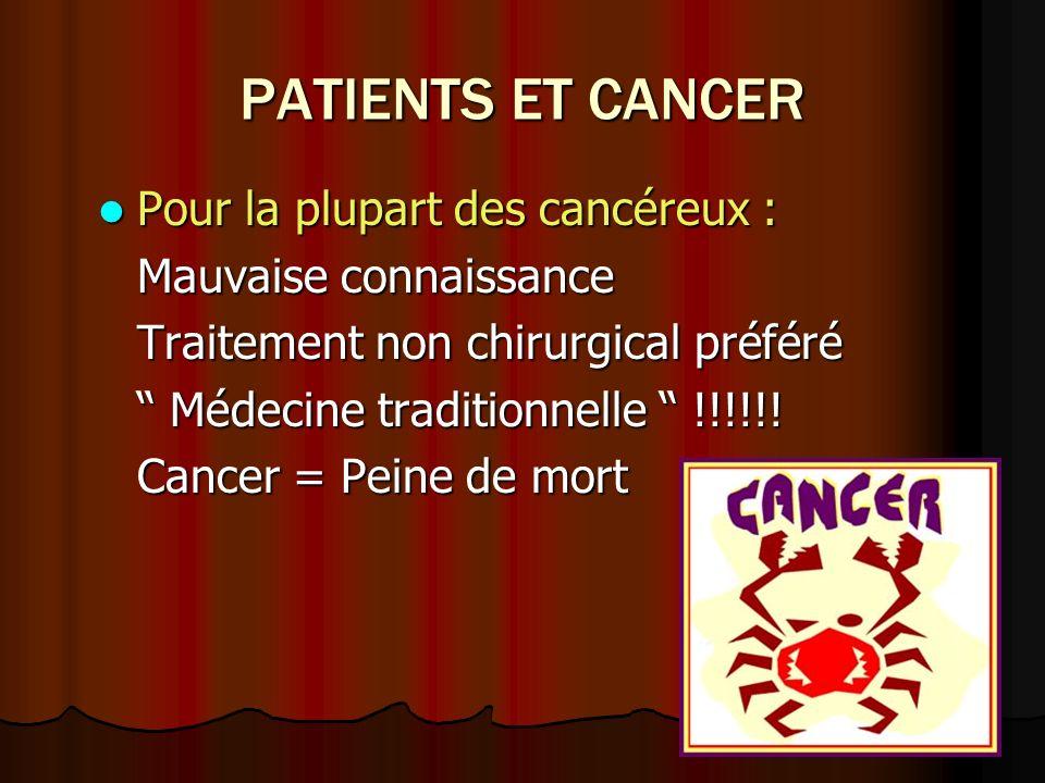 PATIENTS ET CANCER Pour la plupart des cancéreux :