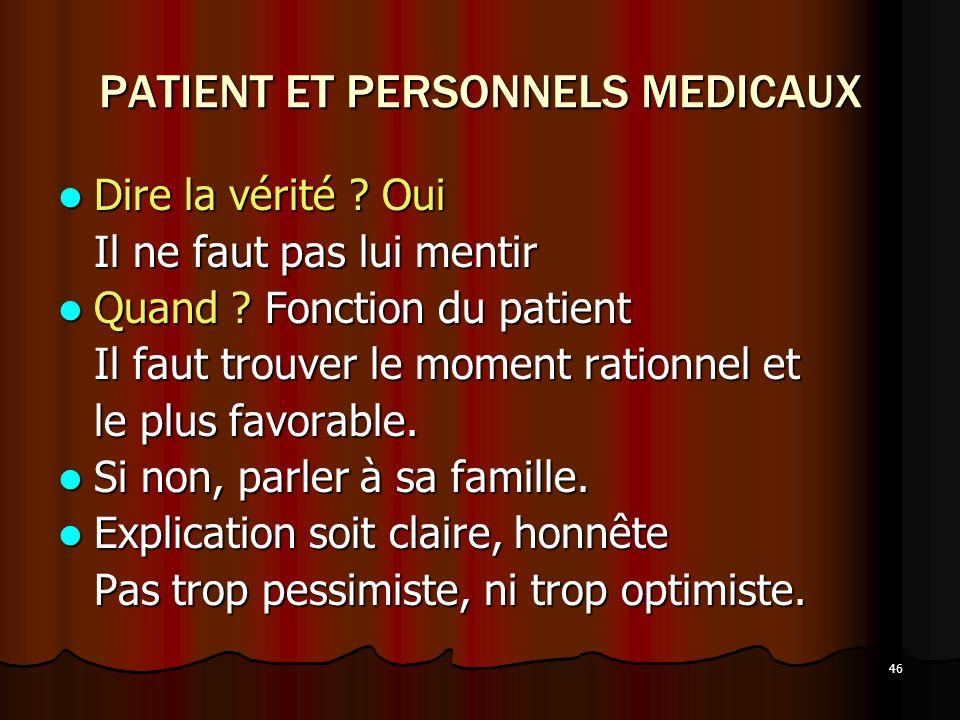PATIENT ET PERSONNELS MEDICAUX