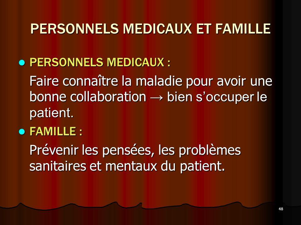 PERSONNELS MEDICAUX ET FAMILLE