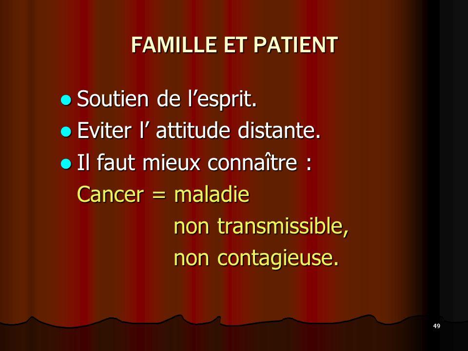 FAMILLE ET PATIENT Soutien de l'esprit. Eviter l' attitude distante.