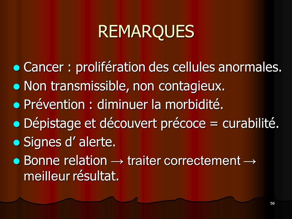REMARQUES Cancer : prolifération des cellules anormales.