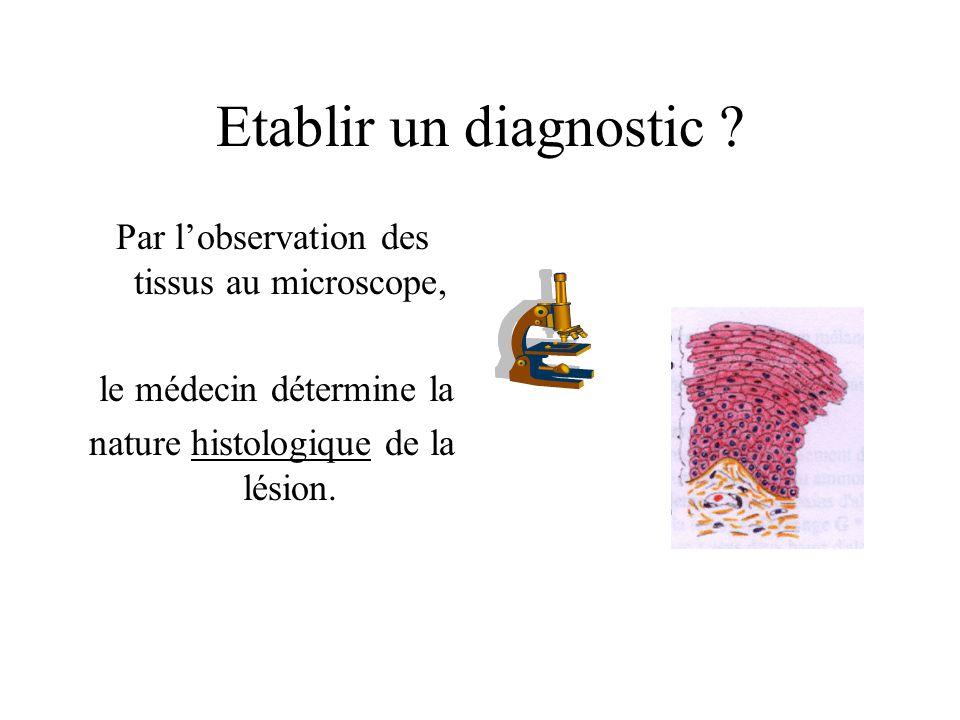 Etablir un diagnostic Par l'observation des tissus au microscope,