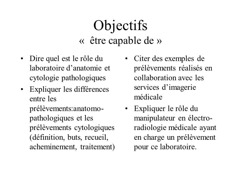Objectifs « être capable de »