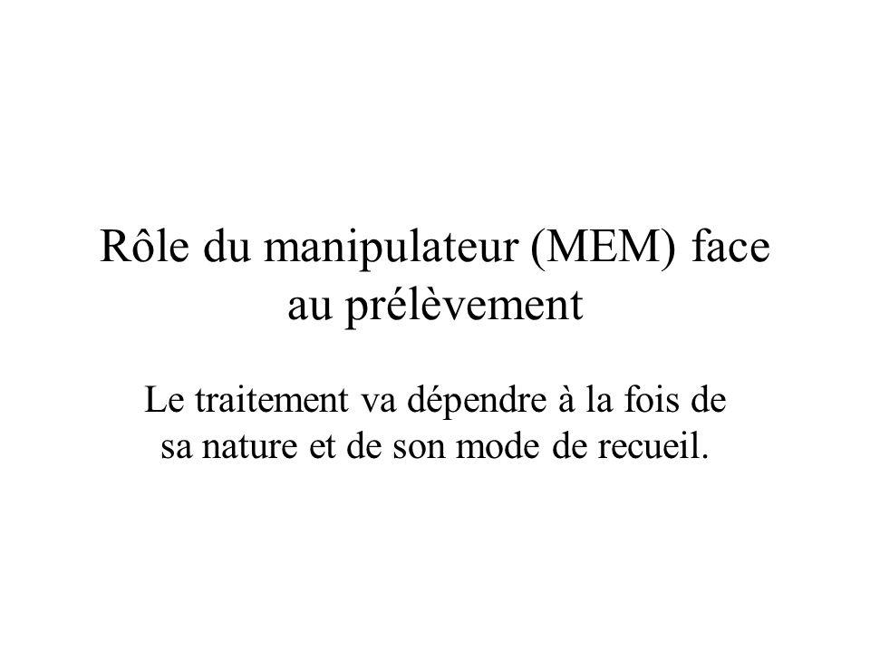 Rôle du manipulateur (MEM) face au prélèvement
