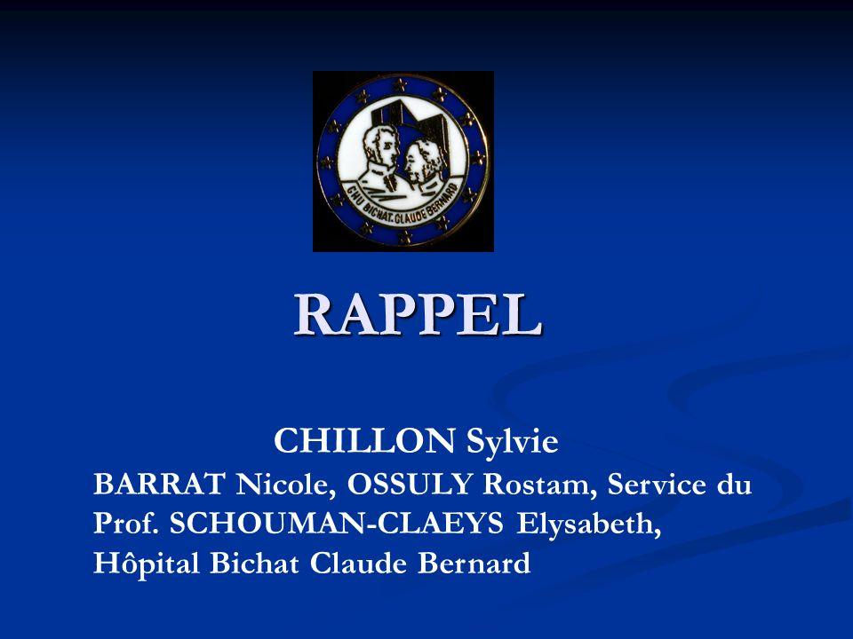 RAPPEL CHILLON Sylvie. BARRAT Nicole, OSSULY Rostam, Service du Prof.