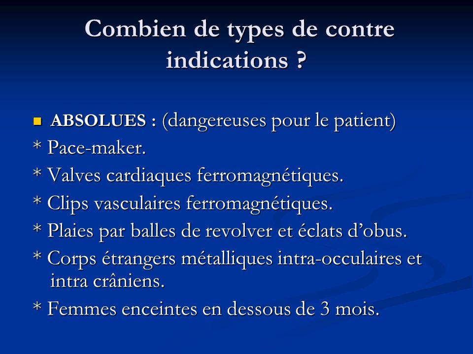 Combien de types de contre indications