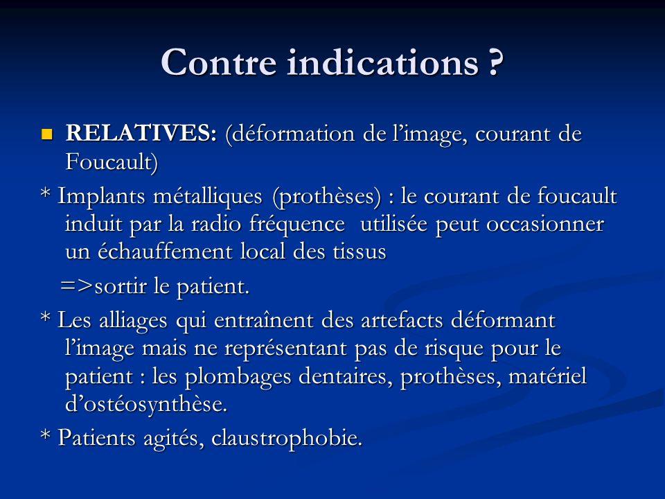 Contre indications RELATIVES: (déformation de l'image, courant de Foucault)