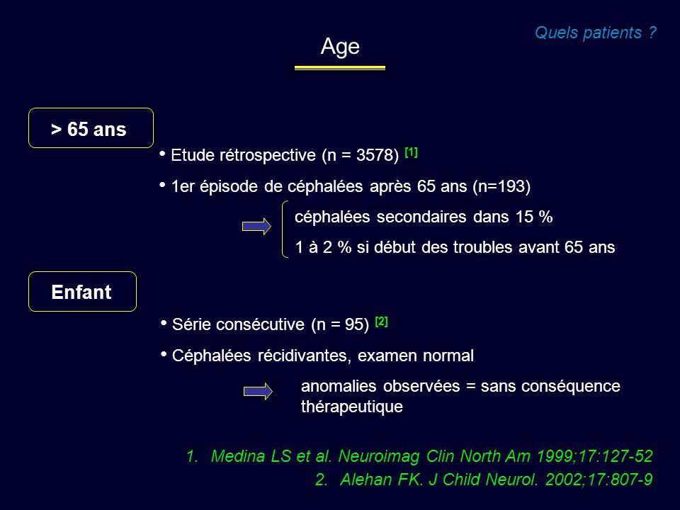 Age > 65 ans Enfant Quels patients