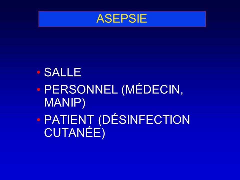 ASEPSIE SALLE PERSONNEL (MÉDECIN, MANIP) PATIENT (DÉSINFECTION CUTANÉE)
