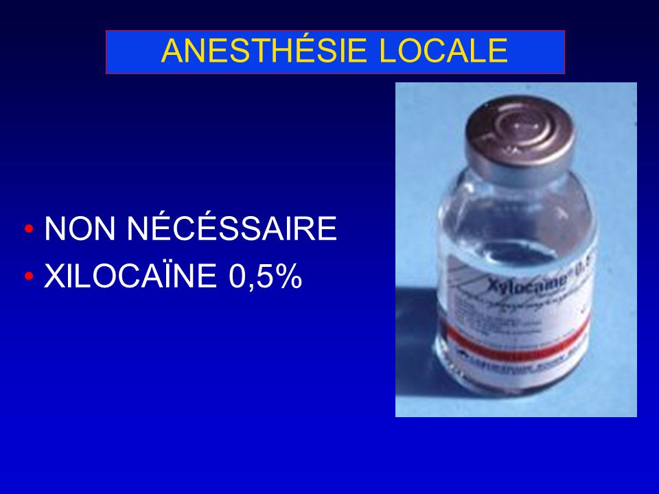 ANESTHÉSIE LOCALE NON NÉCÉSSAIRE XILOCAÏNE 0,5%