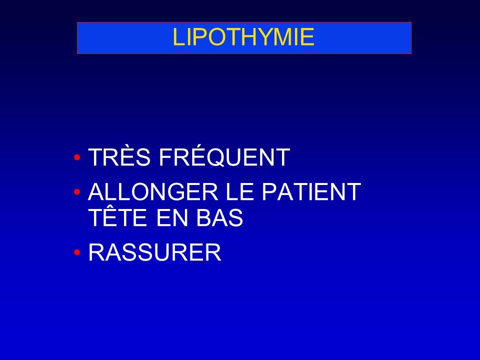 LIPOTHYMIE TRÈS FRÉQUENT ALLONGER LE PATIENT TÊTE EN BAS RASSURER
