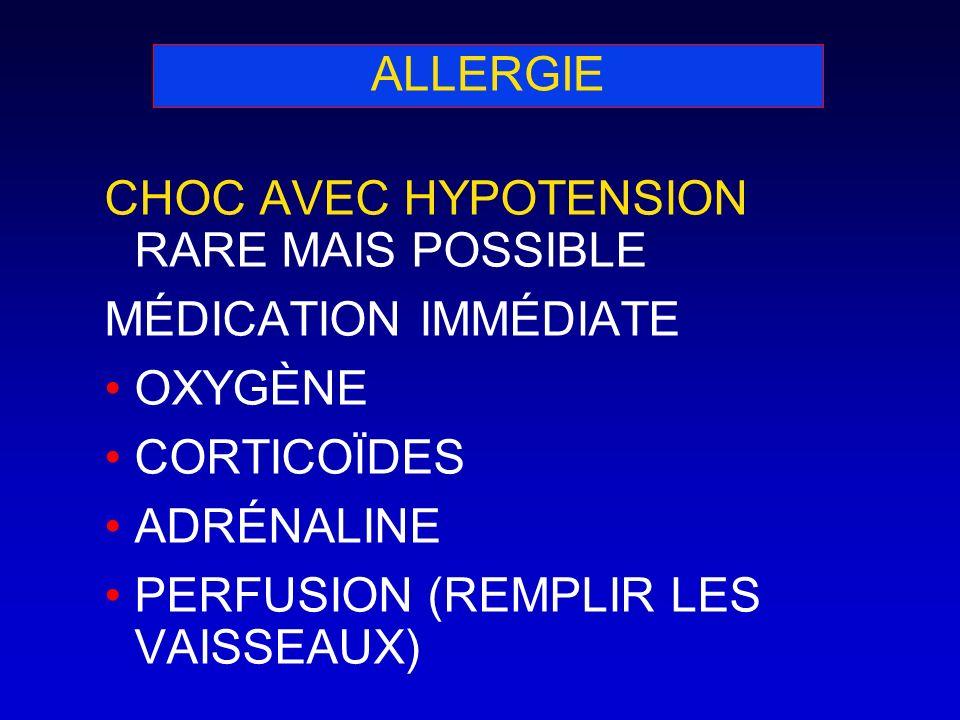 ALLERGIE CHOC AVEC HYPOTENSION RARE MAIS POSSIBLE. MÉDICATION IMMÉDIATE. OXYGÈNE. CORTICOÏDES. ADRÉNALINE.