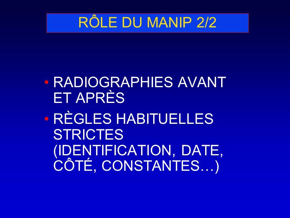 RÔLE DU MANIP 2/2RADIOGRAPHIES AVANT ET APRÈS.