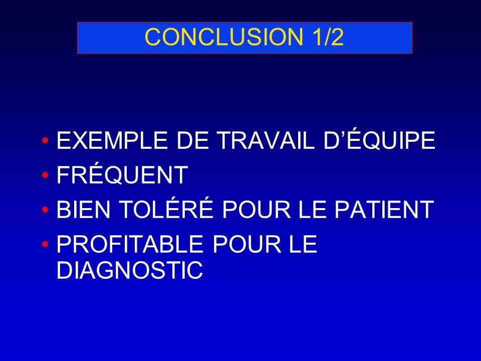 CONCLUSION 1/2 EXEMPLE DE TRAVAIL D'ÉQUIPE. FRÉQUENT.