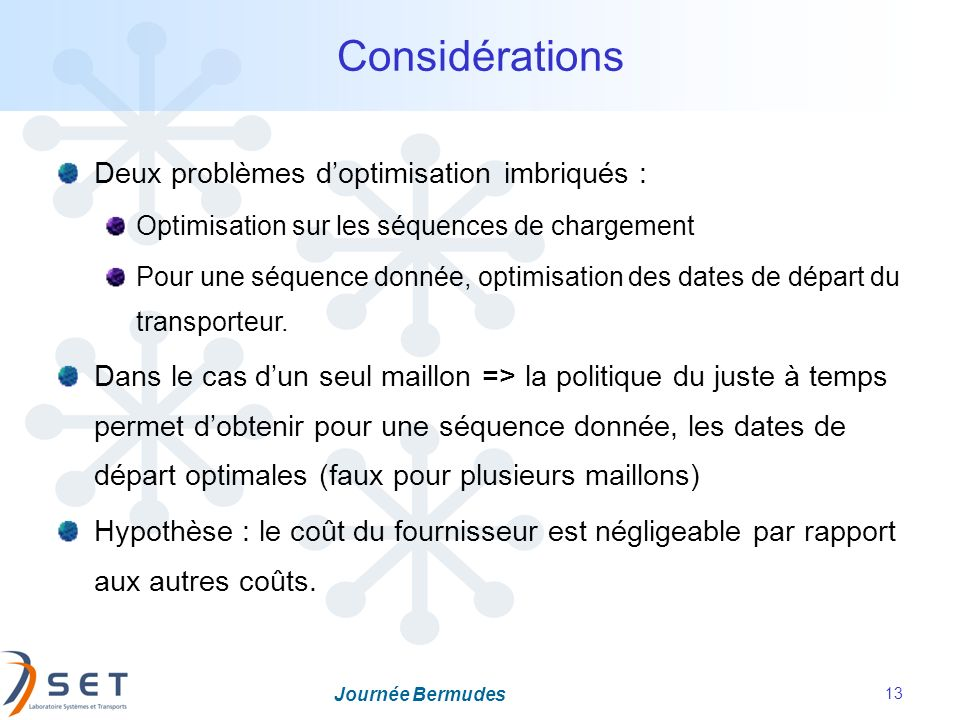 Considérations Deux problèmes d'optimisation imbriqués :